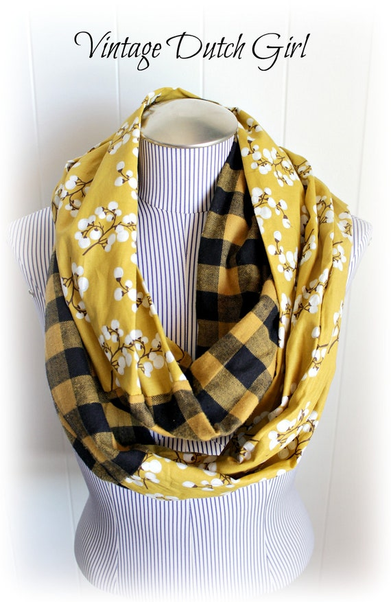 Burnt Umber Blossom and Mustard and Brown Gingham Plaid Fabric Infinity Scarf, Extra Long