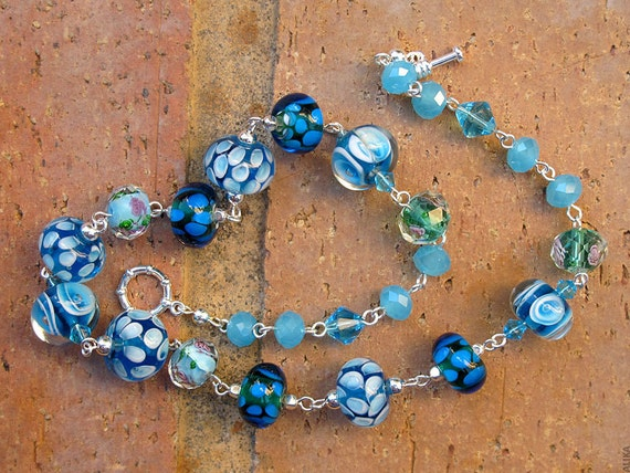 Blue and Aqua Lampwork Necklace,