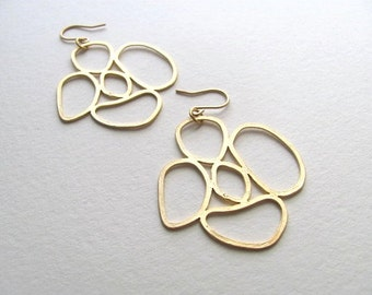 Geometric abstract gold circles earrings, 14k gold,