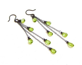 Peridot Earrings, Green Gemstone, Oxidized Sterling Silver, Dangle Earrings, Handmade Jewelry, August Birthstone