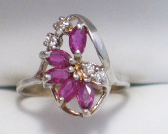 old vintage 14k white gold ruby diamond cluster ring band size 5 1/4