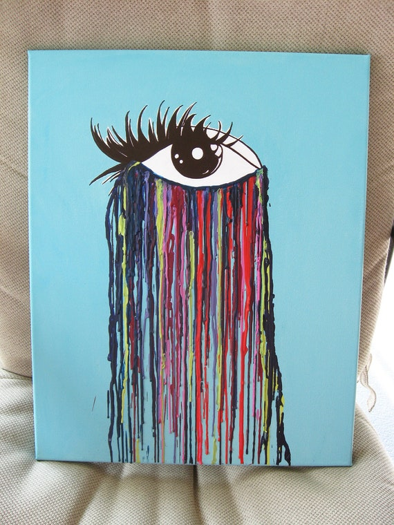 Crying Eye Original Encaustic Wax Painting Melted Crayon Art