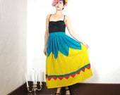 70s Circus Color Blocked Pleated Silk Maxi Skirt (XS/S)