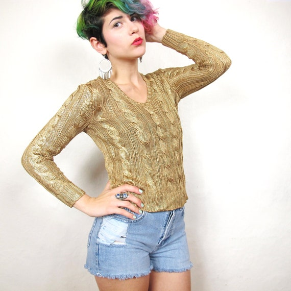 RALPH LAUREN Gilded Gold Cable Knit Sweater  (XS)