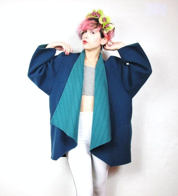 80s Avant Garde Two Tone Draped Collar Wool Winter Jacket  (M/L)