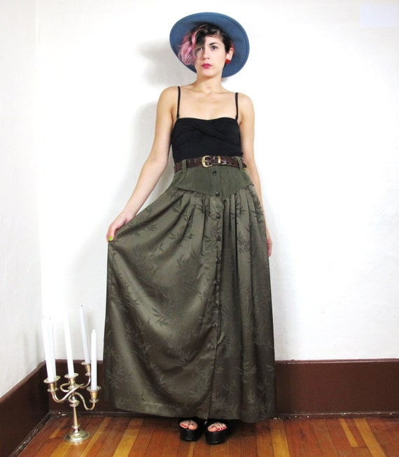 S A L E  Army Green Faux Suede Western Bamboo Print Maxi Skirt Nos (M)