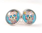 Sugar Skull Earrings for Teens Tween Jewelry Blue Earrings Day of the Dead Sugar Skull Jewelry Gift Ideas for Teenage Girls for Tween Girls