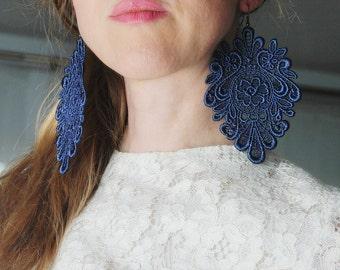 Deep blue chic lace earrings/ Long earrings/ Romantic/ Victorian earrings/ Modern boho/ Gift idea/ rusteam teamstyle