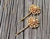 Vintage orange coral, rhinestone and gold repurposed  bobby pins - hair jewelry - set of 2 - gold tone