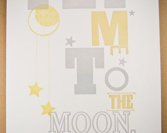Fly Me To the Moon, letterpress print by The Permanent Collection