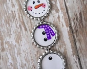 Snowman with purple scarf Christmas Ornament, handmade by JeJeweled