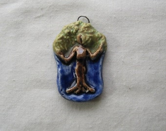 Petite Dryad tree spirit earthy tones ceramic sculptural pendant by JDaviesReazor