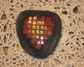 Valentines Day - Yellow, Orange and Red Heart Tile Mosaic Heart Rock Paperweight Keepsake Mini - ooak