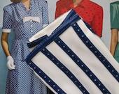 VINTAGE 1960s White Gloves Navy Blue Punched Vinyl Stripe Detail NWT size Medium