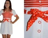 Vintage Dress - Orange and White Mini Frock