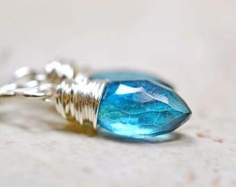 London Blue Gemstone Earrings Blue Quartz Wire Wrapped Dangle Blue Zircon Sterling Silver December Birthday Jewelry Dainty Blue Earrings