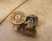 Bullet ear plugs 357 Magnum Bullet Plug Earrings Bullet Shell u pick your gauge  bullet ear gauges