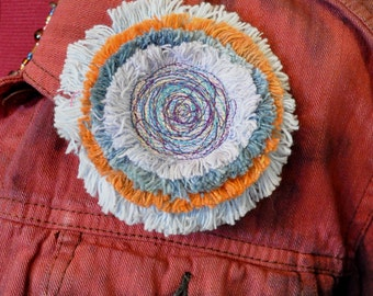 """Dyed Fringed Denim Brooch Pin - Lilac Teal Orange and Light Blue Denim Circle Corsage Brooch  4"""" Pin - 26"""