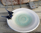 Blue bird wedding ring holder - love birds ceramic bird bath ring dish - Bluebirds trinket plate