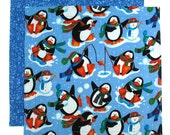 Christmas Napkin, Kids Napkin, Cloth Napkin, Penguin Fabric Napkin, 1 double sided napkin