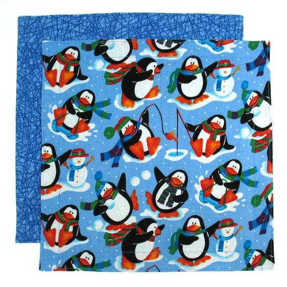 Christmas Napkin, Kids Napkin, Cloth Napkin, Penguin Fabric Napkin, 1 double sided napkin