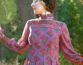 1960s Dress... 60 Victorian Revival Maxidress... Tapestry Print... VICTORIAN PSYCHEDELIA (xs/s)
