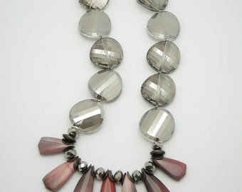 RUFOUS /Statement Necklace.Chunky.Agate.Grey.Bib/
