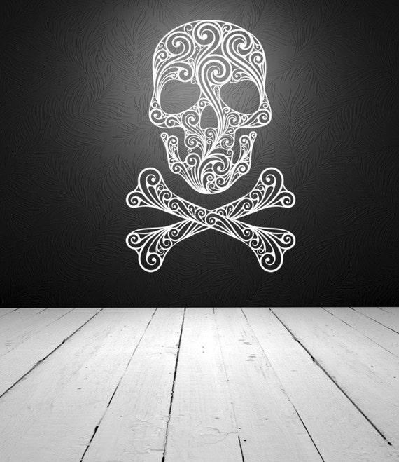 Sugar Skull, Skull Wall Decal, Skull Crossbones Wall Decal, Halloween Wall Decor, Rocker Wall Decor, Tattoo Parlor Decor, Dorm Decor, Goth