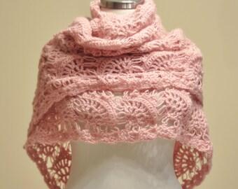 CLEARANCE! Pink Shawl / Pink Crochet Shawl / Pink Wrap Shawl