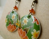 Tropical Green and Red - Vintage Mexican Oilcloth Inspired Earrings