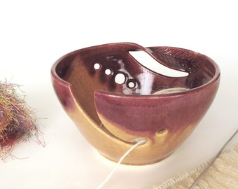 Large yarn bowl, yarn holder, Autumn Gold twisted leaf bowl, knitting bowls, crochet bowl, knitter gift, knit crocheting organizer