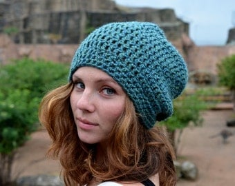 Slouchy Beanie Womens Slouchy Hat Crochet Slouchy Beanie Hat Spring Accessories Seaspray Green
