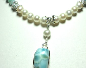 Larimar Necklace With Amazonite and Genuine Freshwater Pearls AAA Larimar and Real FW Pearls Necklace with Amazonite in Solid Sterling