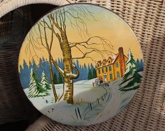 Winter in the Country Vintage Round Tin Box - Carriage Snow Nature Mansion - Wuthering Heights Like