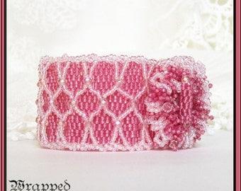 Raspberry Pink Bracelet / Peyote Bead Weaving Netting / Fuchsia Swarovski Crystal / Wedding / Beaded Toggle FreeShipUSA Allergy Free