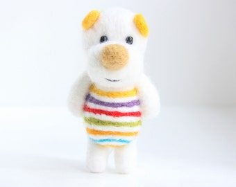 Colorful striped felted pocket bear