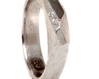 Faceted Sterling Diamond Ring