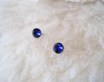 "Surgical Steel Post Earrings - ""Cobalt Blue Crystals"" (Hypoallergenic Earrings for Sensitive Ears // Surgical Steel Stud Earrings)"