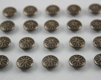 100 pcs Antique Brass Vintage Flowers Rivet Studs Leather Craft Decor Fashion 10 mm.