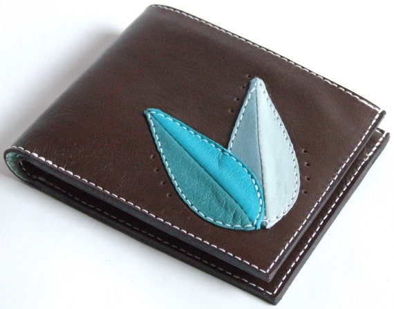 Brown leather wallet with leaves design, bifold with ID window, cards and coins