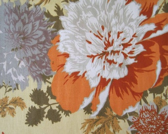 Vintage Cohama Decorator Floral Fabric Yardage Dahlia  Yellow Orange Gray Autumn Colors - 1 yard