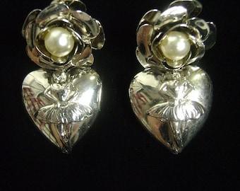 Vintage 80s Drop Earrings, Heart, Ballerina, Flower, Nickel, Silver Tone, Faux Pearls, Pierced, New Old Stock, Boxed, Multiples, Giftworthy