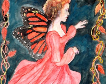 Autumn Monarch Fairy signed ACEO