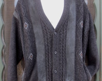 Vintage Man's Norm Thompson Grey Merino Wool & Suede Cardigan Sweater size  LG