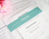 Vintage Wedding Invitation, Aquamarine Wedding Invitation, Vintage Wedding Invite - Antique Vintage Design - Sample Set
