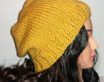 Mustard Yellow Knitted Slouchy Beanie Hat