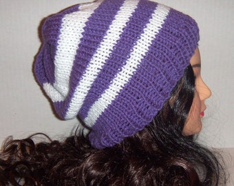 Woman's Knitted Slouchy Beanie Hat in Purple and White Stripes
