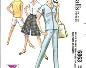 60s Womens Cigarette Pants Blouse Shorts - McCall's 6863 Vintage Pattern - 34 Bust
