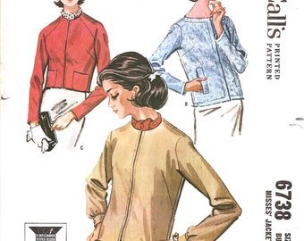 1960s Womens Jackets - McCalls 6738 Vintage Pattern - Bust 34 Size 14
