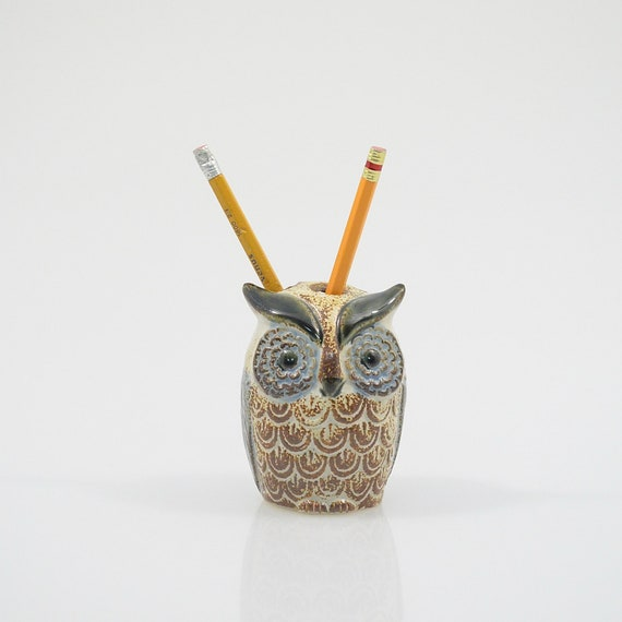 Vi n t a g e Ceramic Pottery Owl Toothbrush Pencil Pen Holder